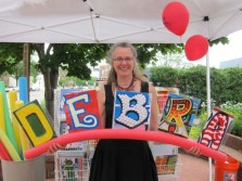Undated handout photo of Debra Fraiser holding letters she created from signs around the Minnesota State Fair. (Courtesy to Pioneer Press: Debra Fraiser)