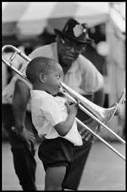 "Bo Diddley watching as ""Trombone Shorty"" makes music"